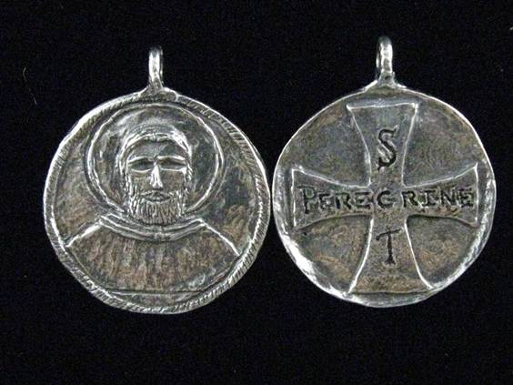 "1 1/2"" St.  Peregrine MedalWHILE SUPPLIES LAST patron saint medal, pewter medal, necklace, keyring, patron of cancer patients, patron of those cured of cancer, male saint, 15254"