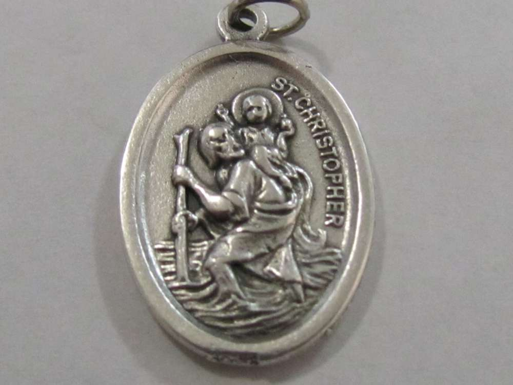 "1"" St. Christopher Oxidized Medal Patron saint, medals, oxidized medal,1"" medal, medal only, sacramental gift, special occasion gift,14406"