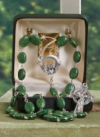 10MM Irish Rosary  cmas15e, rosary, crystal, emerald,green, irish, SO67SR7644CLAD, celtic rosary, st patrick, patrick,