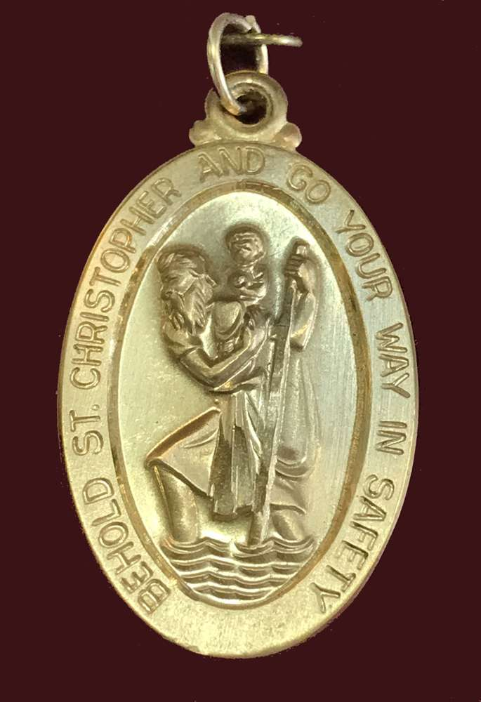 14KT Gold St. Christopher Medal Only 4145Ckt 14Kt Christopher Medal, charm, gold, st. christopher, patron saint medal, medal, necklace, medal only, solid gold,