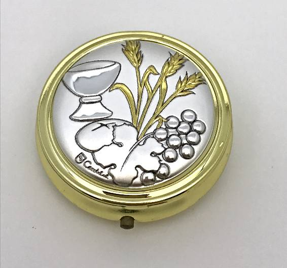 2 Tone Aluminum Eucharist Pyx  pyx, eucharist pyx, discount, 4-6 host, communion, eucharistic minister, sick call,103371
