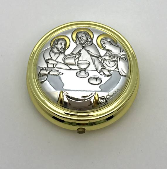 2 Tone Aluminum Last Supper Pyx  pyx, sale pyx, chi rho, celtic, ihs, discount, 6-8 host, communion, eucharistic minister, sick call,103370
