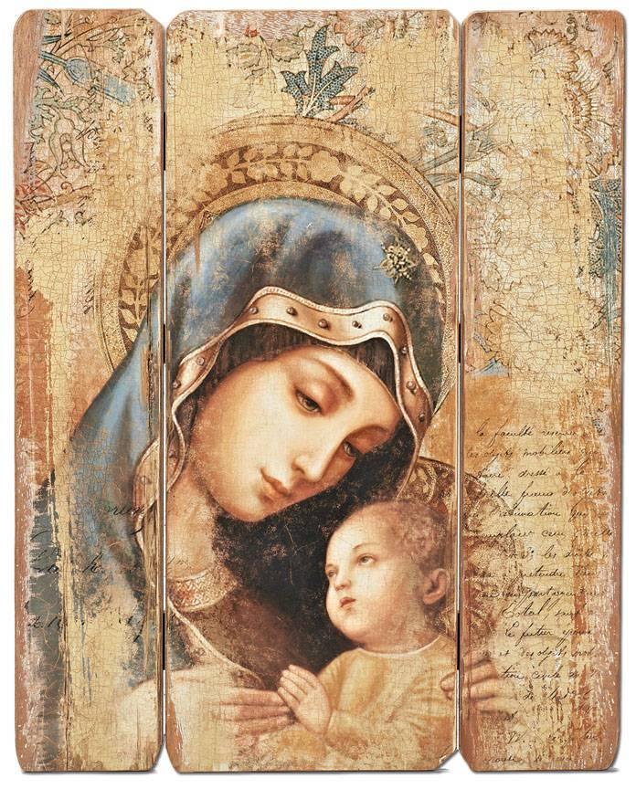 "26"" Madonna Decorative Panel wall decor , wall panel, decorative panel, home decor, church decor, madonna and child, madonna and child panel, mary, 44557"