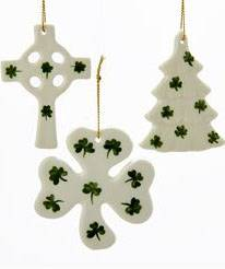 "3"" Asst Porcelain Irish Shamrock Ornaments  irish blessing ornament, irish ornament, irish blessing, irish prayer, shamrocks, celtic cross, irish ornament, cross ornament, tree ornament, shamrock ornament,"