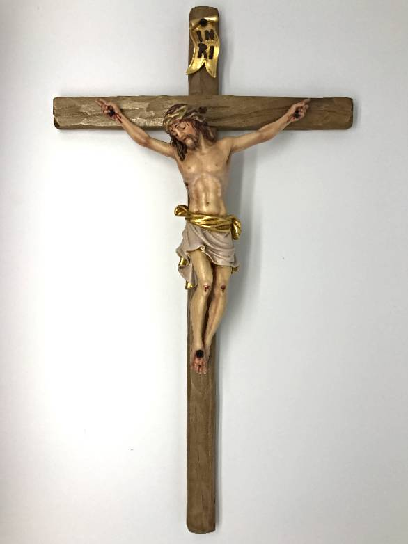 "39 1/2"" Pisa Color Maple Wood Crucifix church goods, church crucifix, wood crucifix, Italian crucifix, hand carved, berland, artisan, colored crucifix, 6028/48"