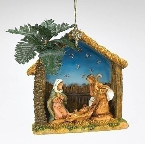 Fontanini Nativity Ornament with Palm Tree fontanini nativity, fontanini ornament, nativity ornament, holy family ornament, religious ornament, christmas ornament