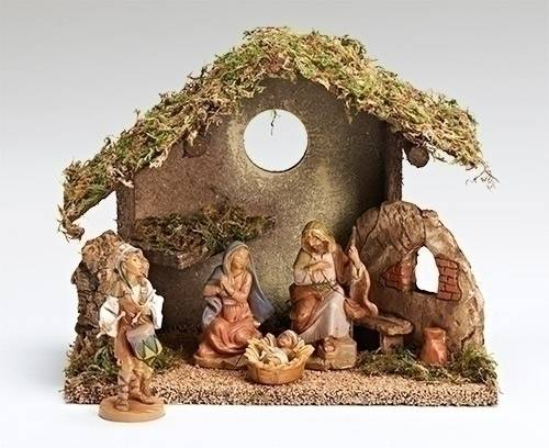 Fontanini 4 Piece Nativity Starter Set with Stable fontanini nativity set, nativity scene, italian nativity, nativity from italy, fontannini