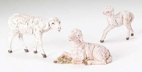 "5"" Fontanini Sheep Family Figure figure, 5"" figure, fontanini, christmas gift, christmas set, collection figures , nativity figures, open stock figures, 51539, nativity animals, sheep family,"