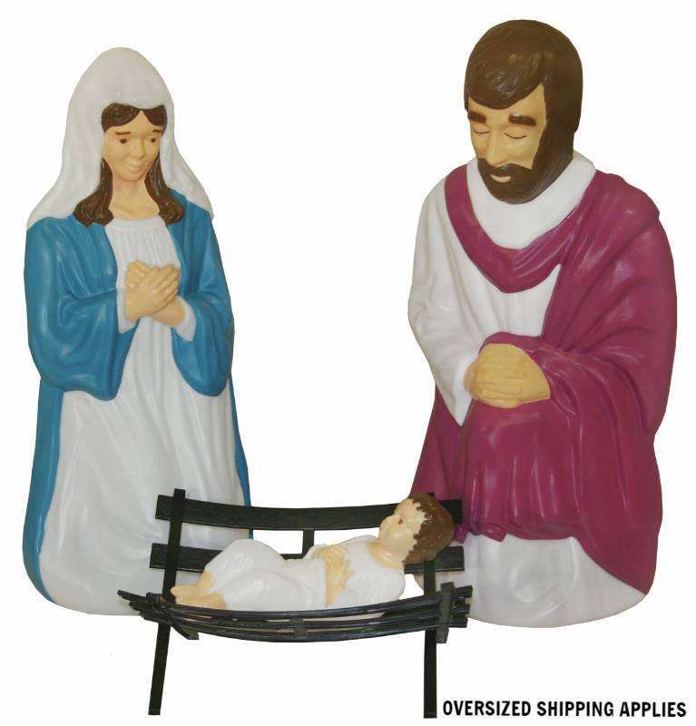 "60"" Scale Lighted  Outdoor 4 Piece Holy Family GF60, outdoor nativity, indoor nativity, color nativity, christmas gift, christmas decor, yard decor, church gift, church items, holy family,57010"