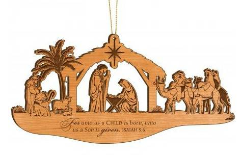 Alder Nativity Ornament ornament, chirstmas ornament, tree decor, holiday decor, tree ornament, nativity, holy family, CFW10