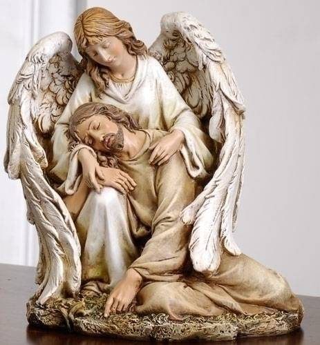 Angel Comforting Jesus Statue angel and jesus statue, angel comforting jesus, resin statue, joseph studio, color statue, home decor, church decor, 46687