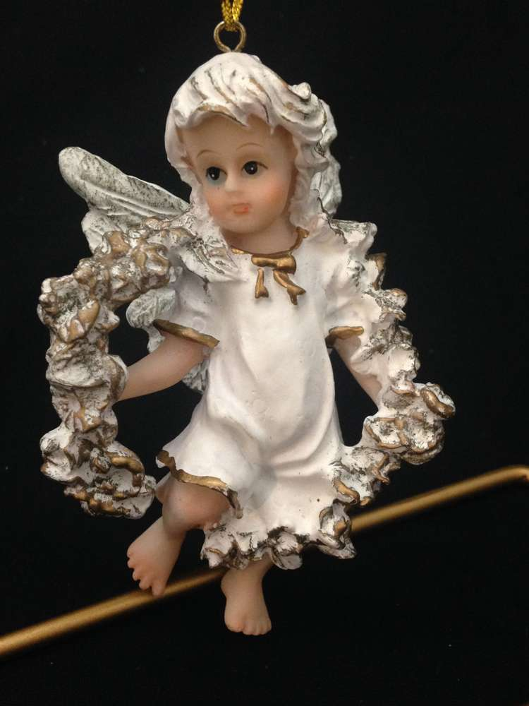 Angel Ornament *WHILE THEY LAST* ornament, angel ornament, christmas ornament,angel and wreath, resin, tree decor, 12114