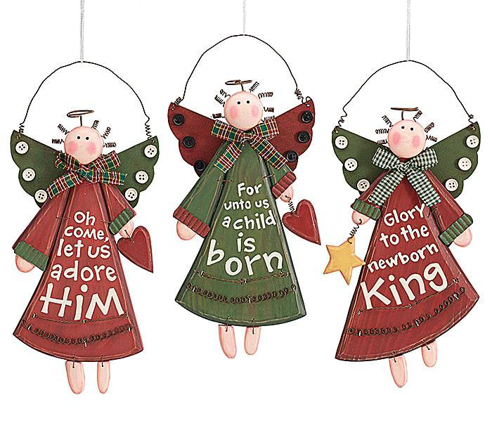 Assorted Angel Ornaments angel ornaments, religious sayins. wood ornaments, christmas ornaments, tree ornaments, 9719445