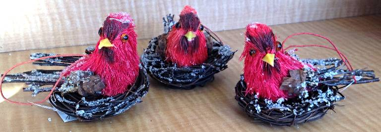 Assorted Cardinal Ornaments in Nest ornament, bird, felt bird, tree decor, holiday decor, christmas decor, bird decor, cardinal bird, bird in nest, 600-2150350