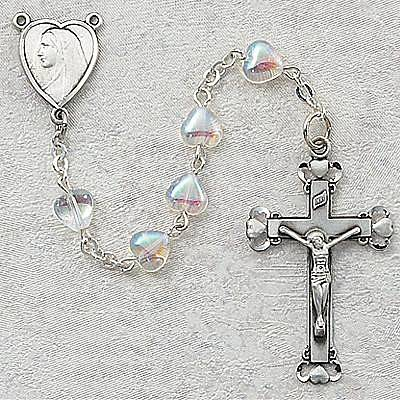 Aurora Borealis Bead Rosary rosary, aurora borialis, sterling silver center, sterling silver crucifix, sacramental gift, sacramental rosary, 921LF, first communion gift, rosary gift,