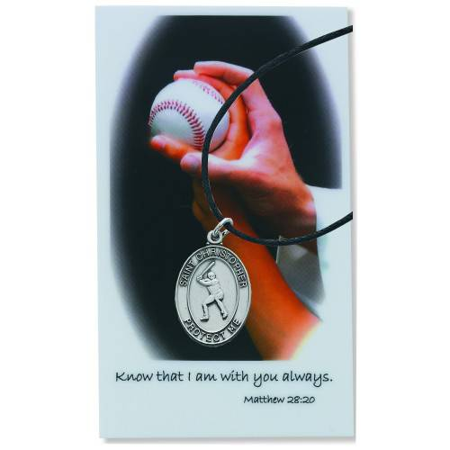 Baseball Sports Necklace Set baseball necklace, sports necklace, pewter necklace, prayer card, sports medals, psd770bs