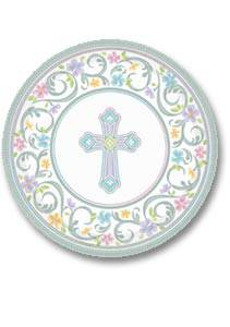Blessed Day Plates 749420, 729420, paper plates, dessert plates, dinner plates, first communion plates, sacramental plates, partyware, paper product, sacramental party supplies, first communion partyware, reconciliation partyware, confirmation partyware,boy partyware, girl partyware