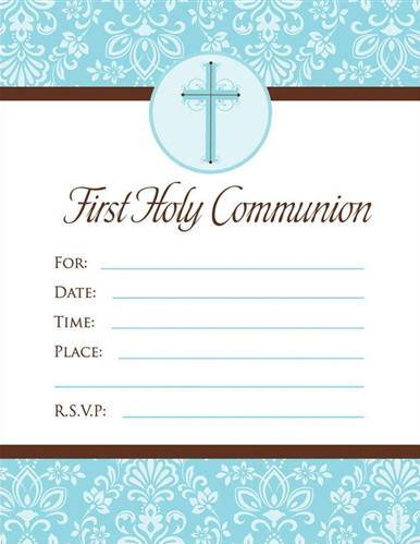 Blue Cross First Communion Invitations 790006,first communion partyware, blue partyware, boy first communion , boy first communion party, first communion party, paper products, blue first communion invitations, blue invitations, boy invitations