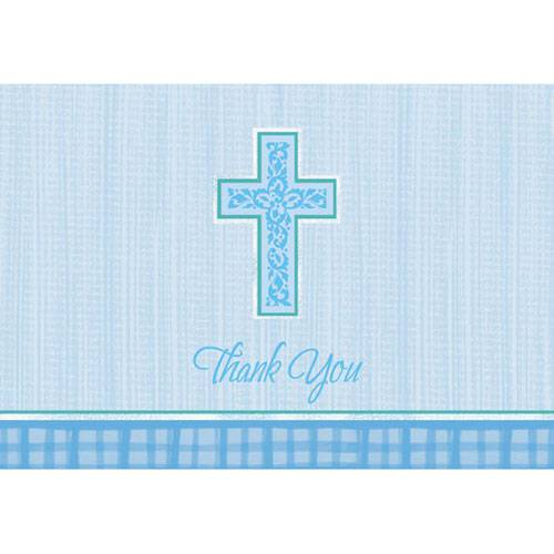 Blue Cross Thank You Notes thank you cards, blue thank you cards, boy thank you, party supplies, first communion, sacramental thank you cards, 485057,