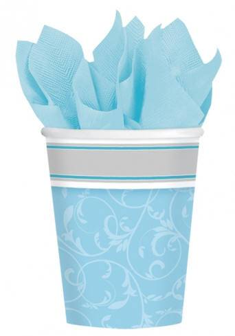 Blue Paper Cups 583846,first communion partyware, blue partyware, boy first communion , boy first communion party, first communion party, paper products, blue cups, boy party cups, boys first communion party,