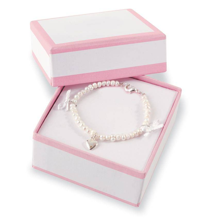 Child%27s Pearl Bracelet With Heart Charm