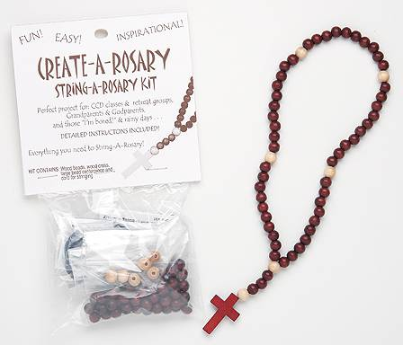 Create A Rosary Kit rosary, rosary kit, wood kit, make your own rosary, class project, string a rosary, 26119