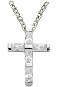 Crystal CZ Cross Pendant first communion cross, cross necklace, holy eucharist necklace, crystal cross, cross with chain, first communion gift,