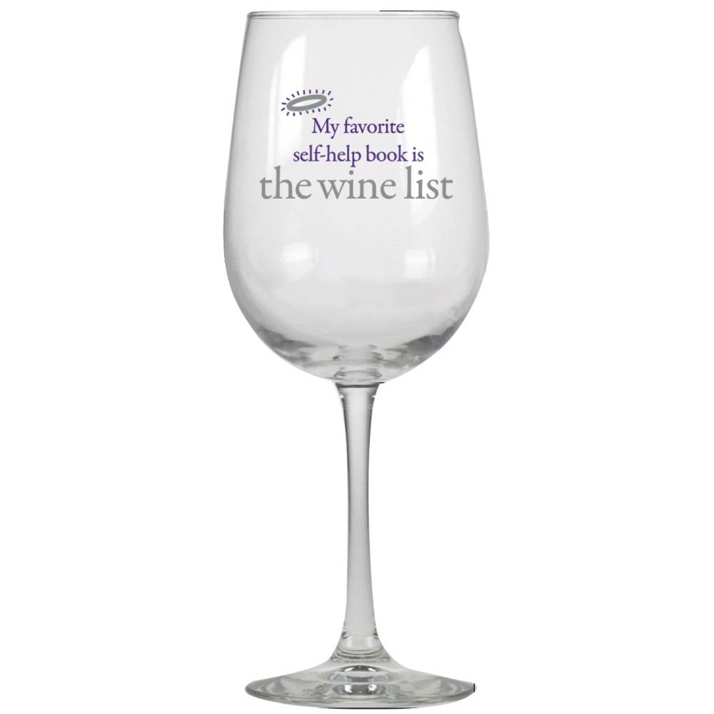 Favorite Self Help Book Wine Glass cmas15d, wine glasses, humor, humorous, great gift, gift, inspirational gift, wine gift, funny gift, funny items, friend present, funny present,