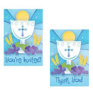 First Communion Blue Invitations & Thank You Cards 489576,first communion partyware, blue partyware, boy first communion , boy first communion party, first communion party, paper products, blue first communion invitations, blue invitations, boy invitations