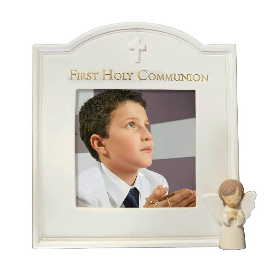 First Communion Little Angel Frame 471364,sacramental frame, white frame, holy communion, 1st communion, first communion, porcelain, angel frame, 471364