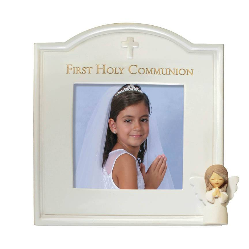 First Communion Little Angel Frame 471365,sacramental frame, white frame, holy communion, 1st communion, first communion, porcelain, angel frame, 471365