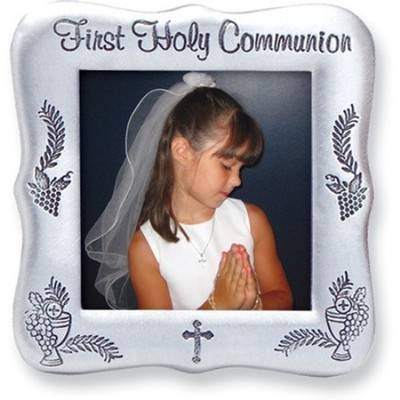First Communion Pewter Frame first communion frame, pewter frame, square frame, first communion gift, holy eucharist gift, pfe125