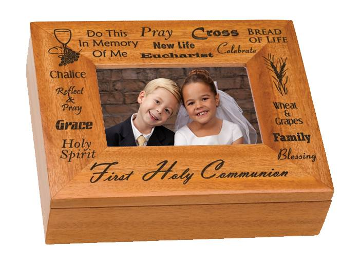 First Communion Picture Frame Keepsake Box keepsake box, first communion box, first communion gift, jewelry box, sentimental box, wood box, gift, N1946HC, picture frame,