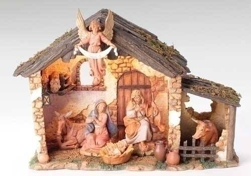 Fontanini 6 Piece Nativity Set with Stable nativity set, indoor set, table top nativity set, colored nativity, christmas gift, woodlook nativity,  wedding gift, home decor, 7 piece nativity,fontanini, 54567