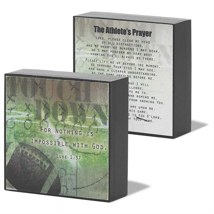Football Standing Plaque plaque, basketball plaque, athlete prayer, boy gift, first communion gift, girl gift, football gift, table block sign, sports gift, sacramental gift, confirmation gift,DPLK33-100