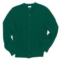 Crewneck Cardigan Sweater, Hunter Green