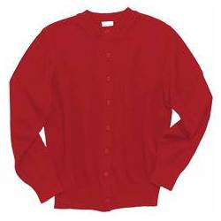 Crewneck Cardigan Sweater, Red