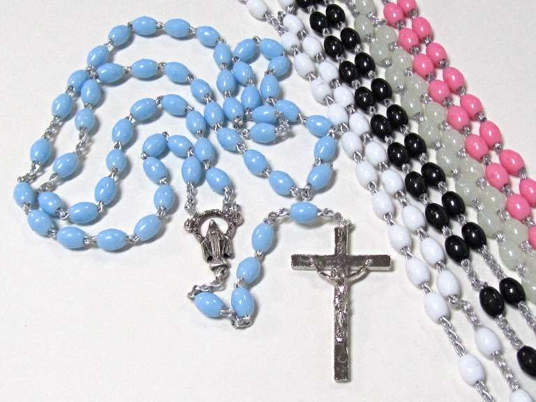 Italian Plastic Rosary rosary, plastic rosary, color rosary, italian rosary, 02152,black, white, pink, blue, luminous, inexpensive, party favors,