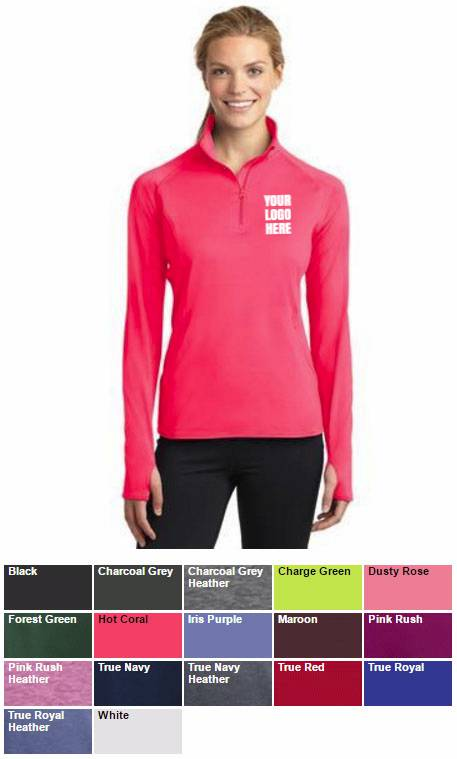 Ladies Quarter Zip Pullover with Embroidered School Logo *Spiritwear* LADIES SPIRITWEAR, LADIES PULLOVERS, LADIES LOGO SWEATS