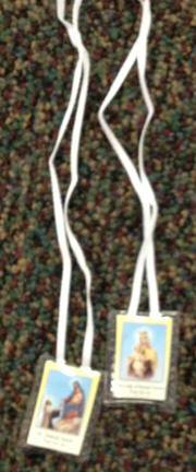 Laminated Scapular on White Cord scapular, white cloth scapular, necklace, scapular necklace, sacramental gift, 13061, laminated scapular