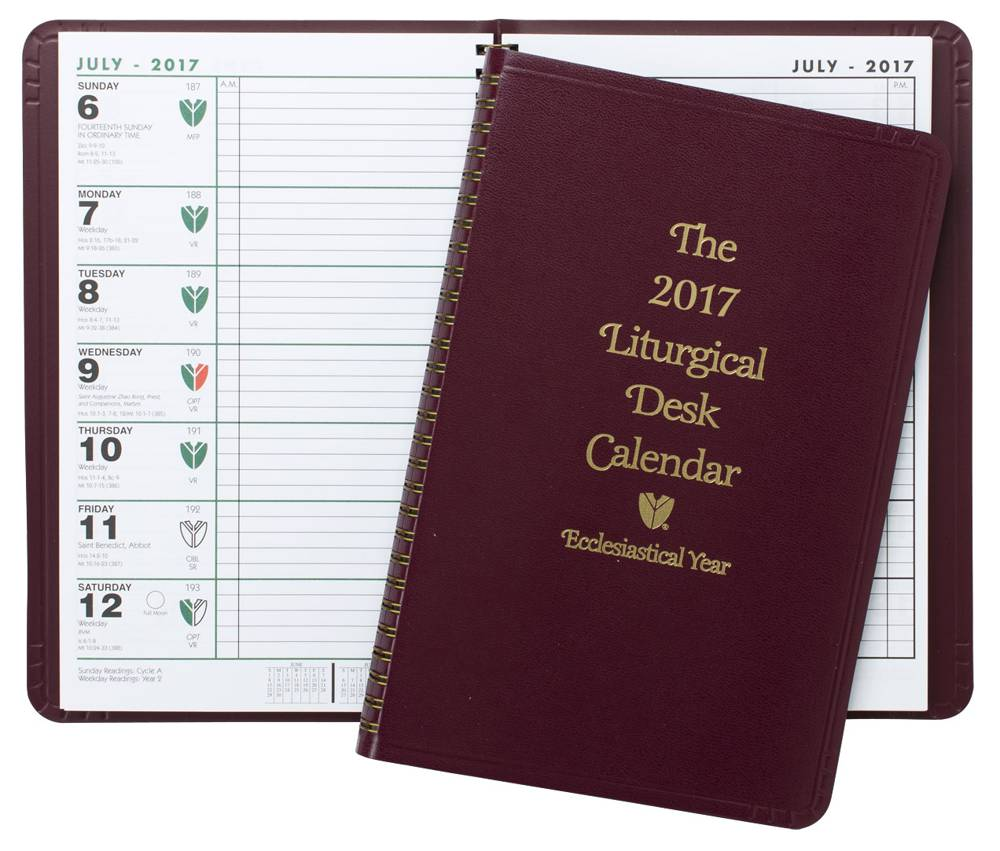 Liturgical Desk Calendar ecumenical planner, appointment planner, religious planner, feast days, calendar, liturgical rank and color, church office supply, rectory supply,liturgical desk calendar,