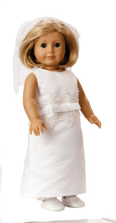 "Mallory First Communion 18"" Doll Outfit doll apparel, first communion dress for doll, doll dress, doll first communion dress,  white doll dress"