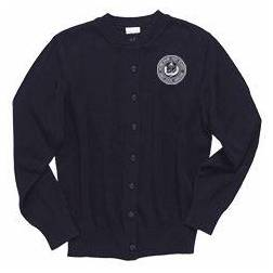 Crewneck Navy Cardigan Sweater with Embroidered ND Logo