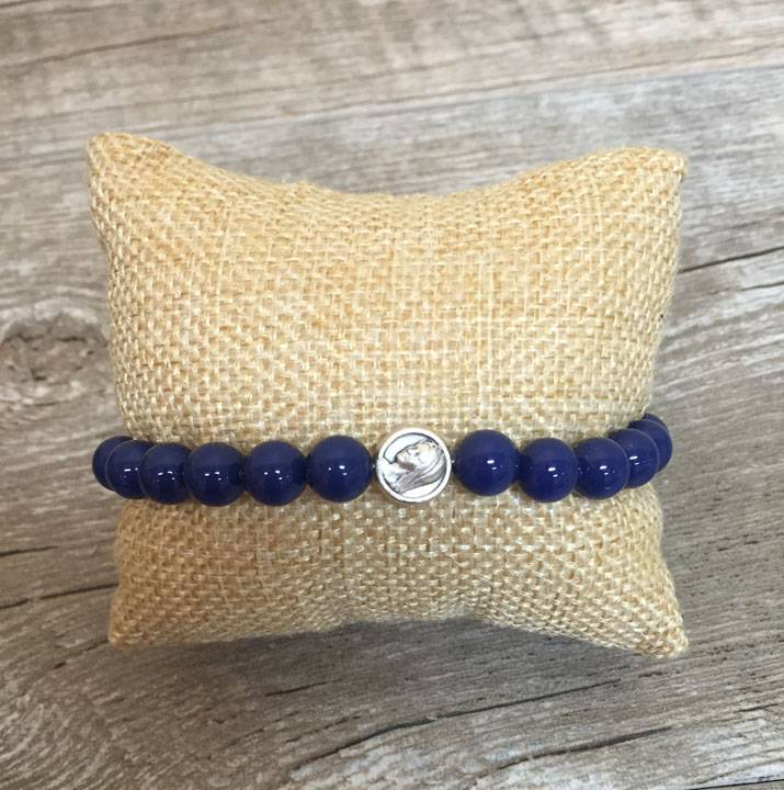 Pearl Marian Bracelet with Dark Lapis Swarovski Pearl Beads mary bracelet, marian bracelet, mother bracelet, mothers prayer bracelet, mary rosary bracelet, mary prayer bracelet, pearl bracelet, blue bracelet, blue pearl bracelet, our lady bracelet, mary our mother,