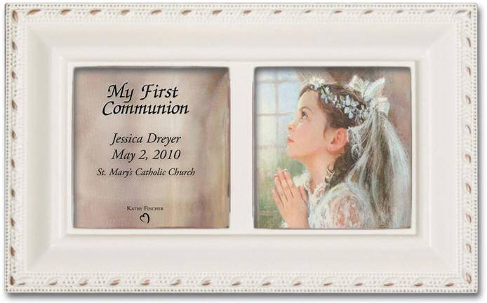 Girl%27s Personalized First Communion Keepsake Box first communion gift, first communion music box, first communion picture frame, personalized box, girls music box, boys music box, Ave Maria music, halleujah chorus music,pmc8009spersonalized, 8009sipersonalized