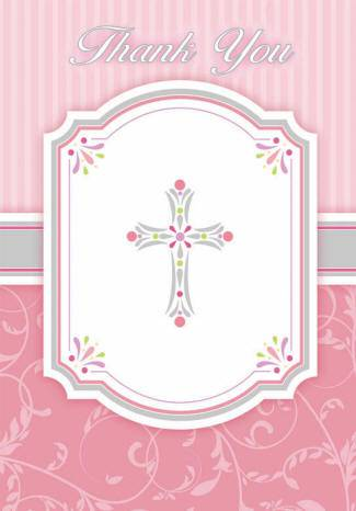 Pink Cross Thank You Notes 783847,first communion partyware, pink partyware, girl first communion , girl first communion party, first communion party, paper products, pink thank you, first communion thank you notes, girl thank you, special occasion thank you notes,