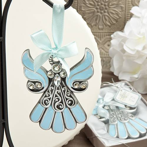Shimmering Blue Enamel Pewter Angel Ornament party favor, angel ornament, angel gift, angel item, keepsake angel, angle, favors, group gifts