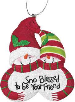 %27Sno Blessed to be Your Friend%27 Ornament *WHILE SUPPLIES LAST* ornament, resin ornament, christmas ornament, christmas gift, friend gift, snowmen ornament,  gift, cho-875, QUANTITY DISCOUNT, QTY DISCOUNT