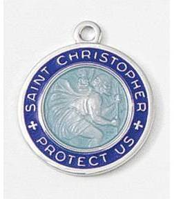 "5/8"" St. Christopher Medal Blue/White st. christopher medal, surfer style medal, colored enamel medal, patron of travelers, st christopher pendant, 33446"