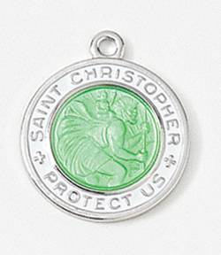 "5/8"" St. Christopher Medal Green/ White st christopher surfer style, st christopher medal, 18"" chain, Patron of travelers, 33408"